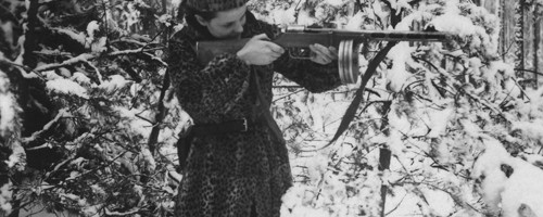 Faye with her Rifle Forest near Pinsk, End of Winter, 1943 [Source: JPEF / A Partisans Memoir, Second Story Press]