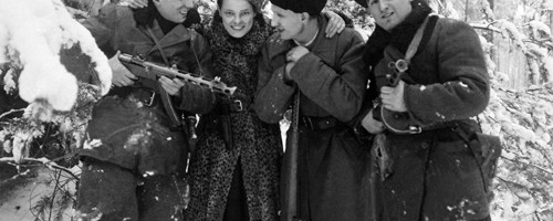 Faye with Old Friends Forest near Lenin, Winter, 1944 [Source: JPEF / A Partisans Memoir, Second Story Press]