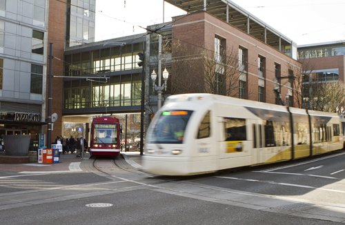 Max trains and the Portland streetcar intersect at PSUs Urban Plaza. The ATU is concerned about this  blackout area.  Photo by Karl Kuchs.